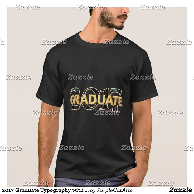 2017 Graduate Typography with Gold and Fireworks Shirt