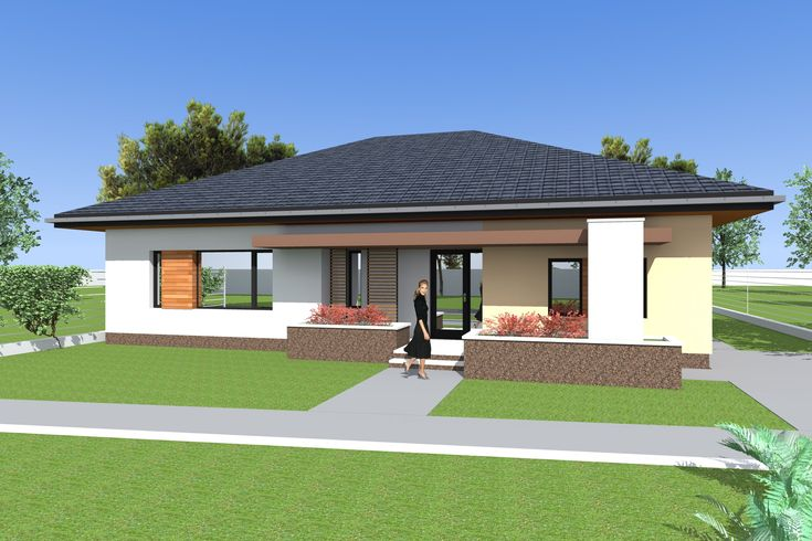 Three bedroom Bungalow design and 3d elevations. Single floor house desi...