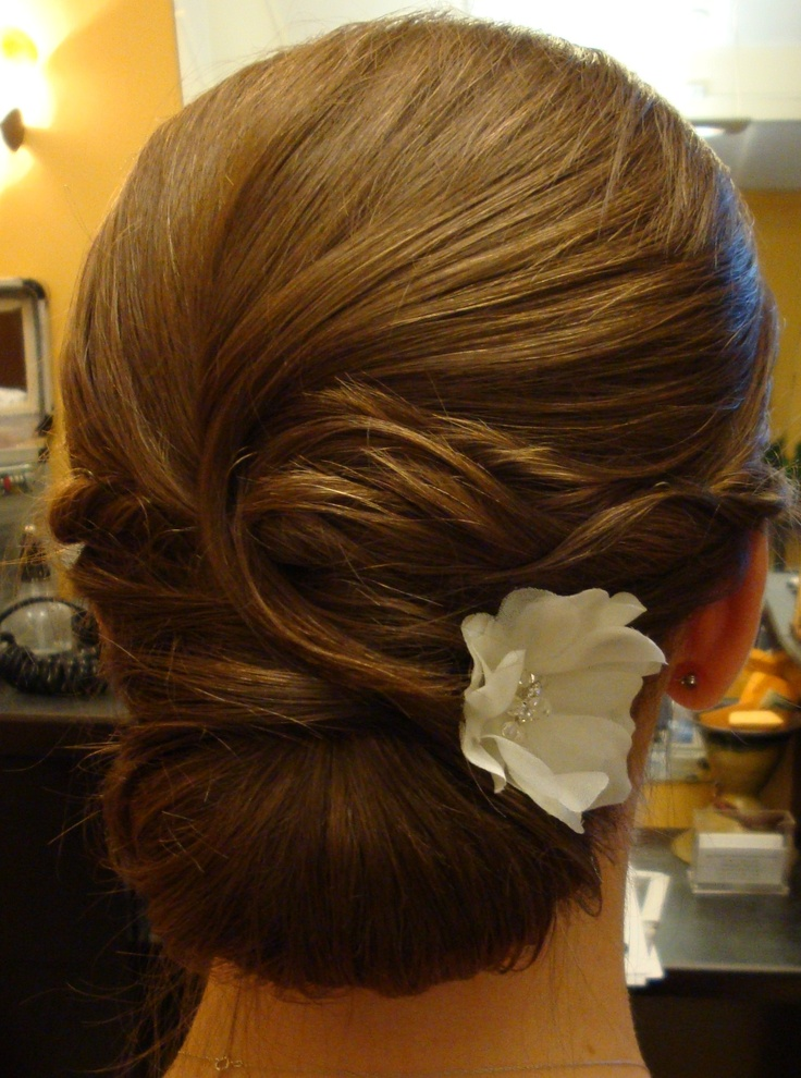 White and Gold Wedding. Bridesmaid Hair. Bride, Low Chignon,
