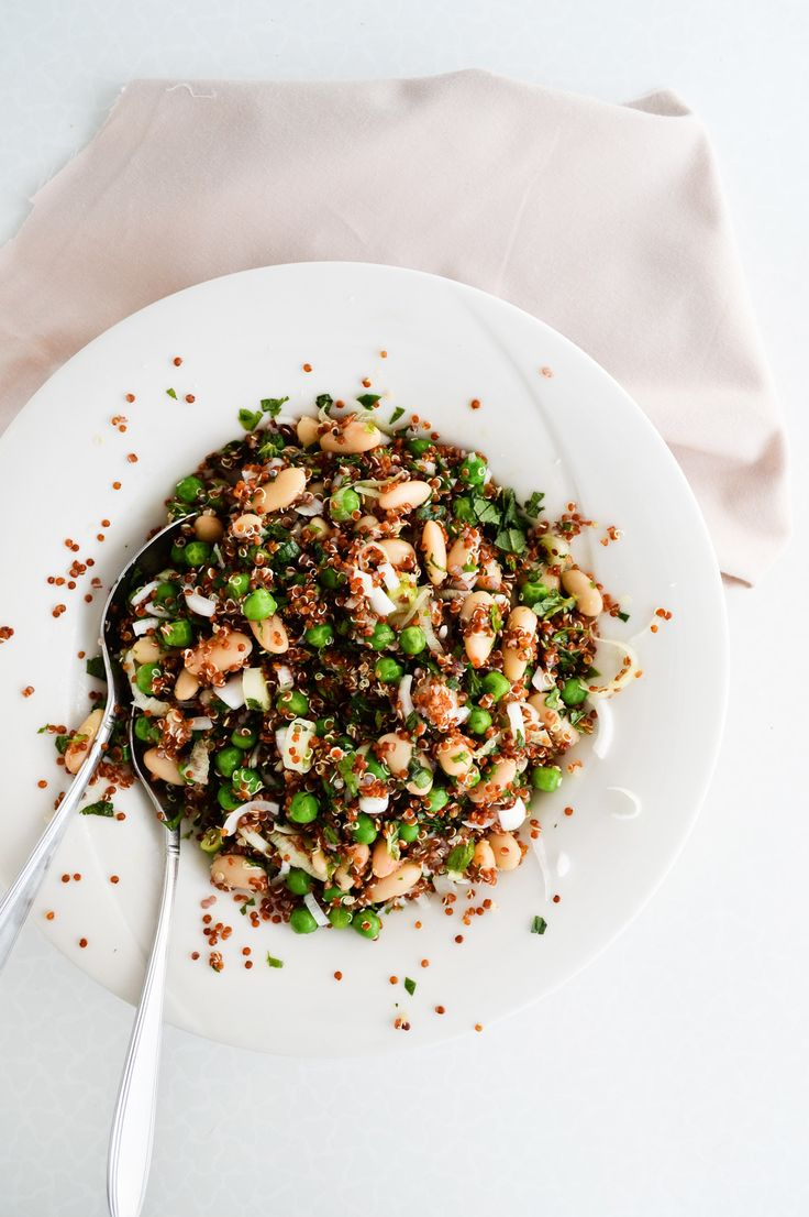 quinoa salad with peas beans and herbs.