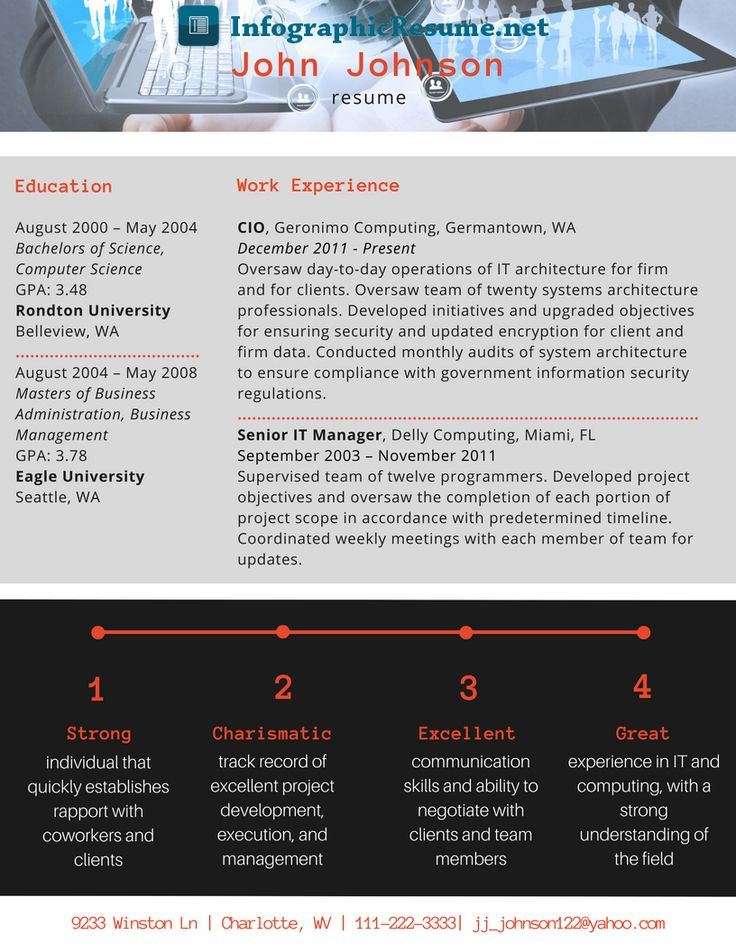 CIO infographic resume can be really beneficial for you and your job. Check out some cool samples here http://infographicresume.net/cio-resume-design/