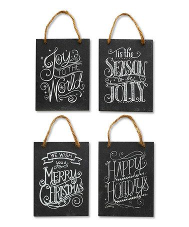 Look what I found on #zulily! Christmas Slate Plaque Ornament Set #zulilyfinds