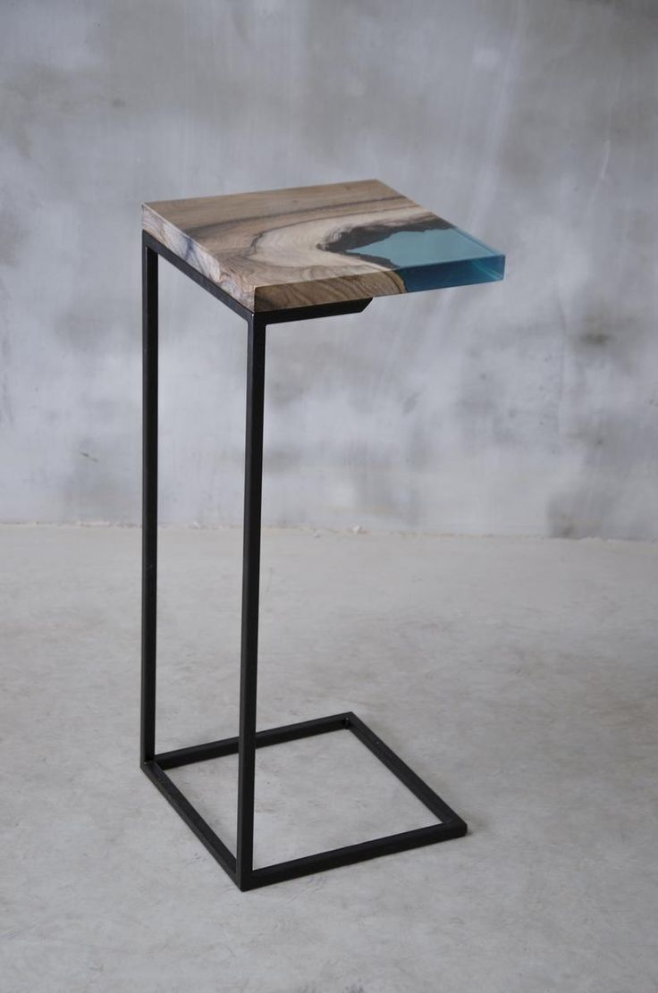 Walnut side table with blue resin, epoxy side table