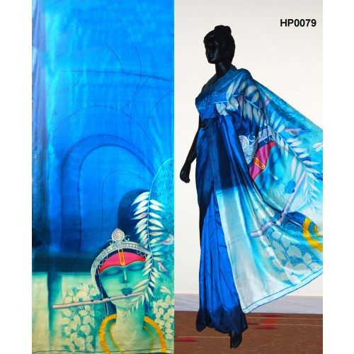 Bankura (bishonpur) Silk Hand Painted Saree. Title : Krishna. MADE on ORDER. 4 WEEKS DELIVERY TIME pd0079