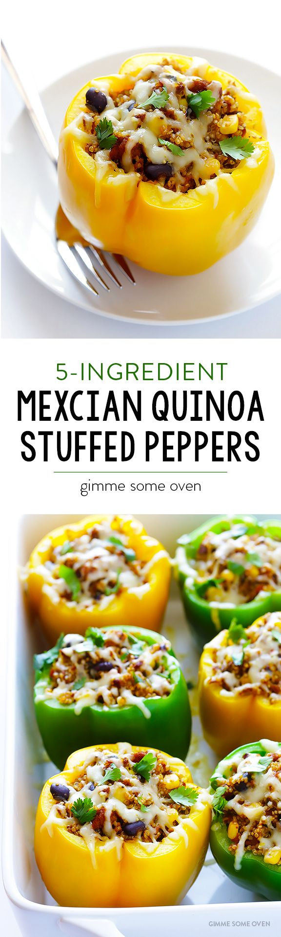 5-Ingredient Mexican Quinoa Stuffed Peppers - Vegetarian, simple to make, and super delicious!