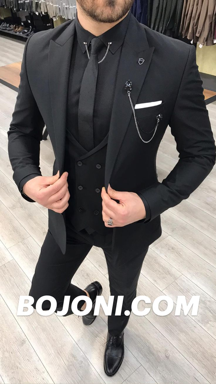 Full Black Suit, Black Suits, All Black Mens Suit, All Black Tuxedo, Prom Suits For Men, Dress Suits For Men, Men In Suits, Mens Suits Style, Black Suit Wedding