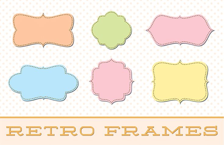 vintage retro style doodle frame borders