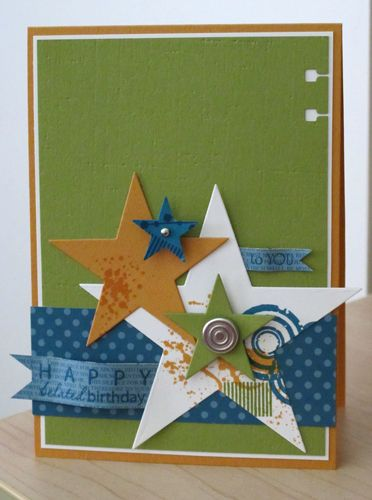 by Karen Thomas, Luv To StampKaren Thomas, Colors Combos, Cards Ideas, Quick Masculine, Masculine Cards, Happy Birthday Cards, Stars Cards, Fathers Day Cards, Boys Cards