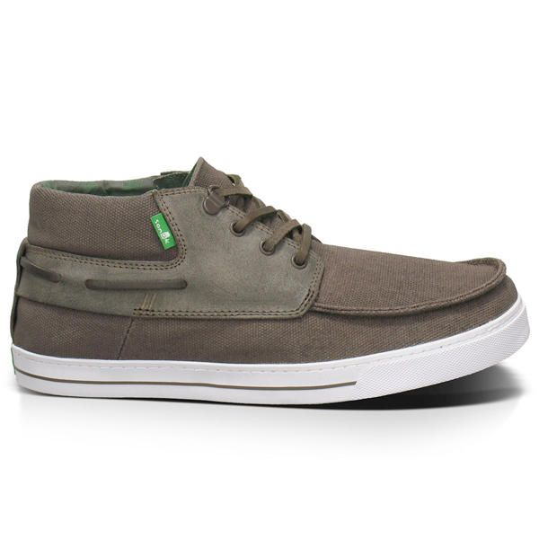 SANUK MENS SCHOONER BOAT SHOE 2013  The Schooner is a brand new style from Sanuk. This boat shoe in brown canvas with waxed suede works a treat on the beach, streets or the docks. The sandal construction gives you the comfort of a flip flops but with a shoe upper. #sanuk #schooner #shoecolourbrown
