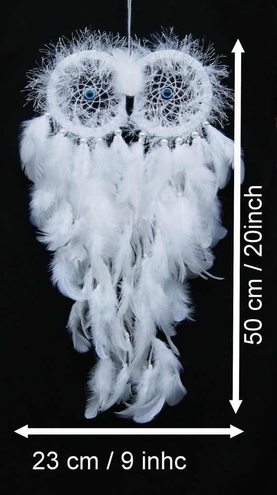 Owl Dream Catcher white . White feathers . by PomPomHandicrafts