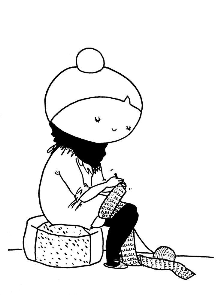 En hæklende tegneseriefigur