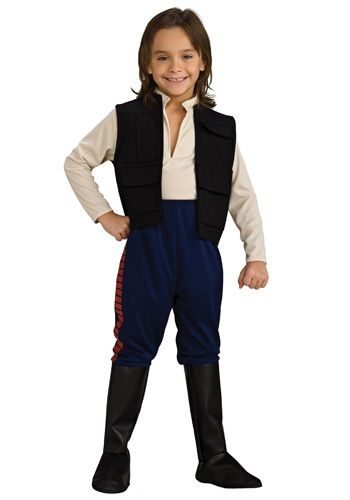 Pilot the Millenium Falcon in this deluxe Han Solo child costume this Halloween. This kids Star Wars Han Solo costume comes with pants and boot tops.