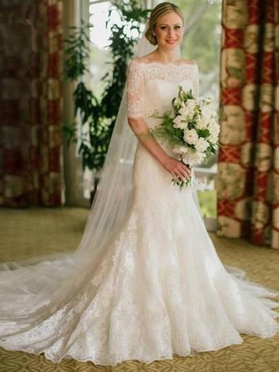 1af983e229175 Half Sleeves Mermaid Lace Wedding Dress in 2019   Wedding Dress 2019 ...