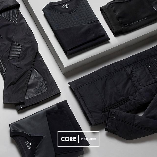 Go black in our monochrome street styles from CORE by JACK & JONES.