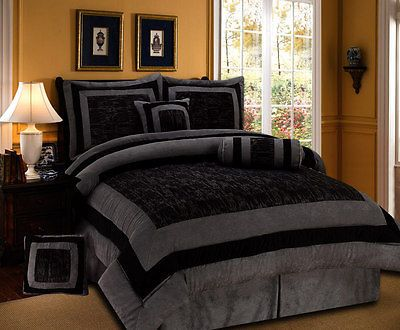 New 7pc Cal King Gray Black Micro Fur Torrin Comforter Set Bed In A Bag