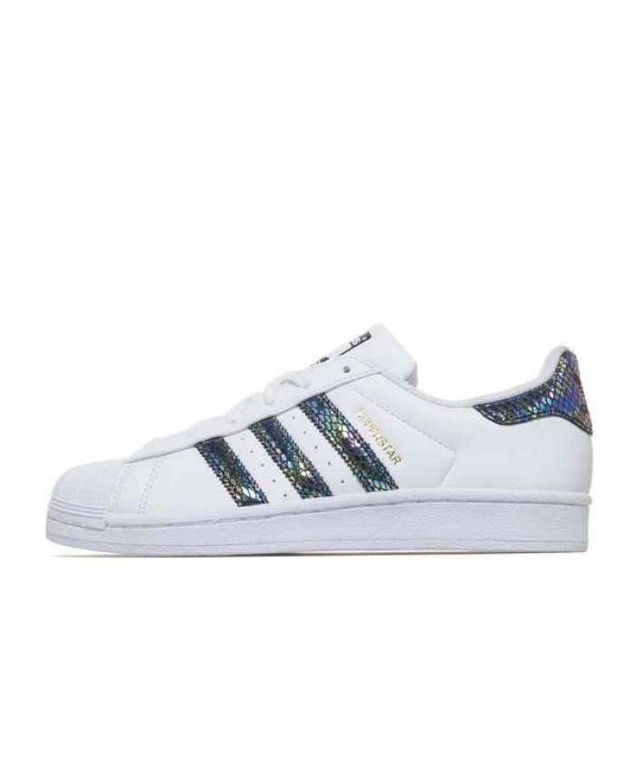 new concept a6842 08a97 Adidas Superstar GS White Iridescent Snake Stripes Shoes