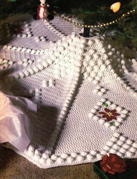 Crochet PATTERN ONLY Snowdrift Christmas Tree Skirt. $9.95, via Etsy.