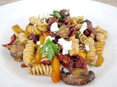 Sun-Dried Tomato Pasta Toss With Crimini Mushrooms, Chicken Sausage & Feta Cheese | The Spiced Life --super easy, fast, and healthy for a delicious weeknight meal!