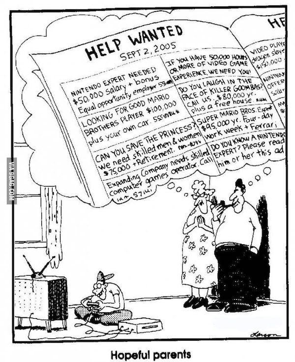 """Un cómic strip de 1990 predijo el surgimiento de los pro-gamers. - En la tira cómica de periódicos """"The Far Side"""" creador por Gary Larson, el autor nos muestra como unos padres imaginan posibles trabajos de """"expertos de nintendo"""", y aunque en aquellos años algo parecido resultaba impensable, desde hace ya varios años es posible considerar vivir como un experto jugador de videojuegos."""