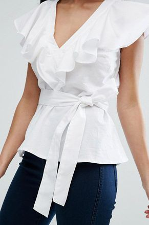 ASOS Ruffle Blouse With Ruffle Front And Tie Waist