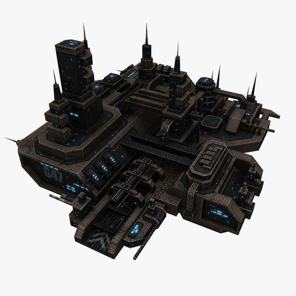 3d max 4 space station - 4 Space Stations... by Angryfly