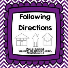 1 and 2 step following directions activities