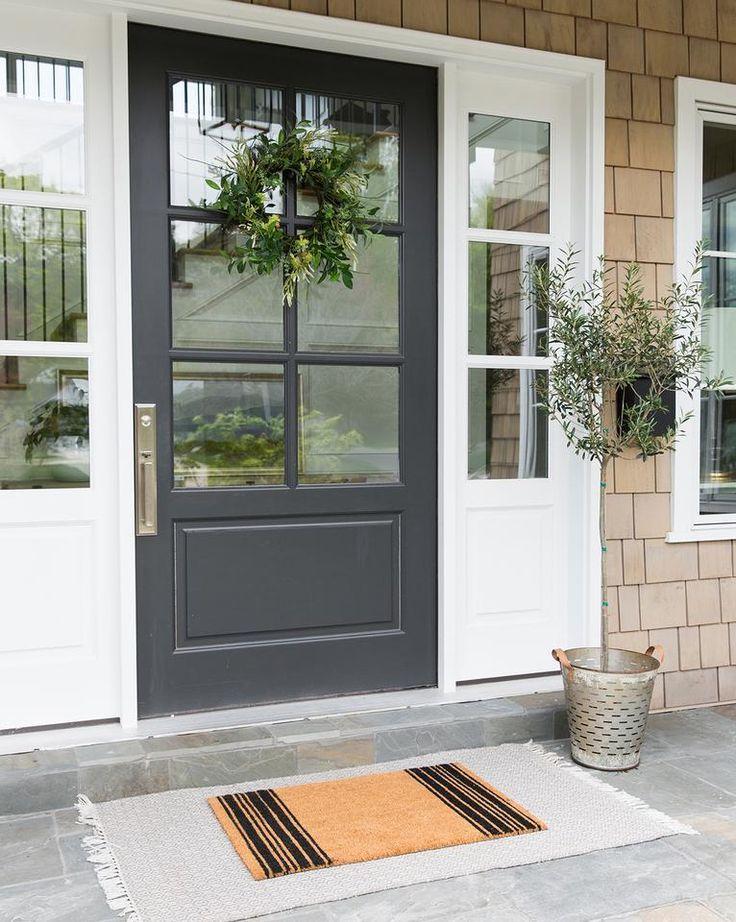 French Stripe Doormat Brick Exterior House Front Door Design Garage Door Design