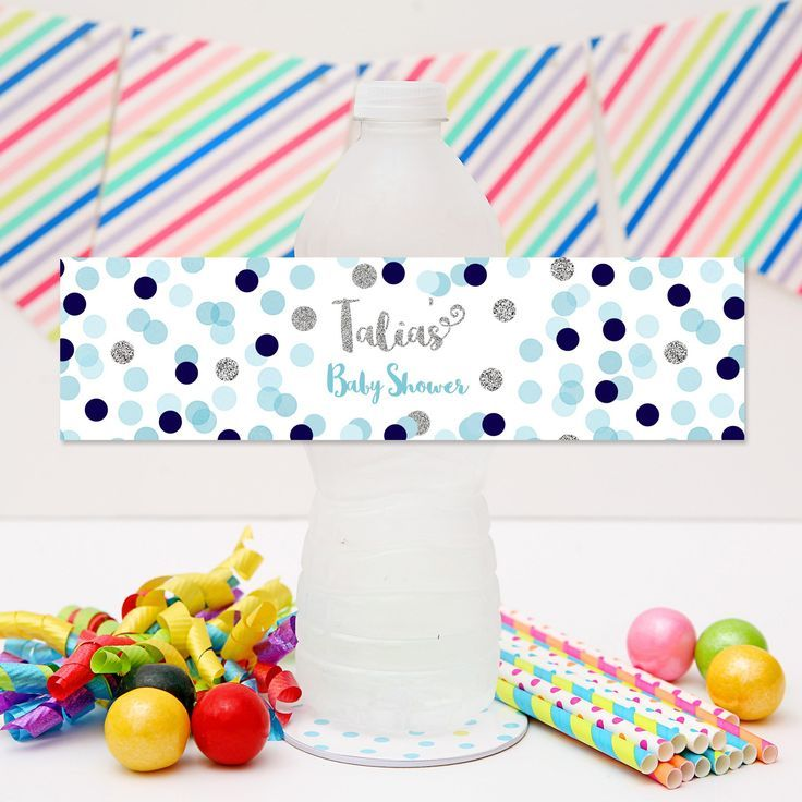 Blue & Silver Confetti Drink Labels | Blue & Silver Confetti Personalised Water Bottle Labels  Click to see details and matching party stationery from Print & Party