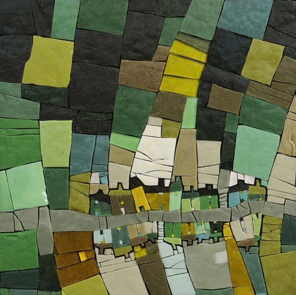 Michelle Combeau | Sans titre, 2011 | Pâte de verre Albertini - 500 x 500 mm sur support bois cadre noir en fer forgé.