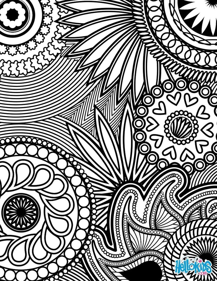 Paisley, Hearts and Flowers Anti-stress Coloring Design coloring page: