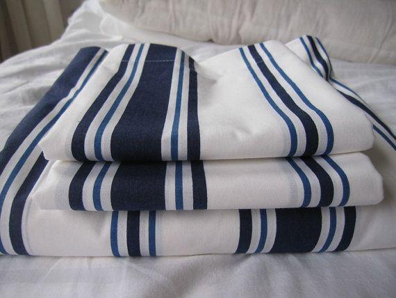 White navy stripe Queen nautical bedding bed sheet by nurdanceyiz, $63.00