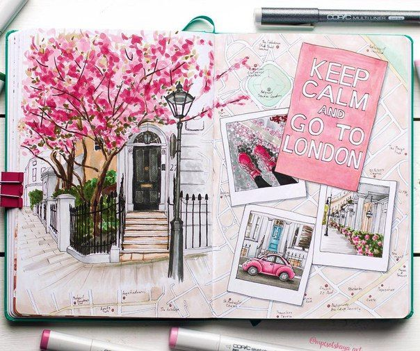 Summer drawing… Beautiful pink sketch ideas! Man…
