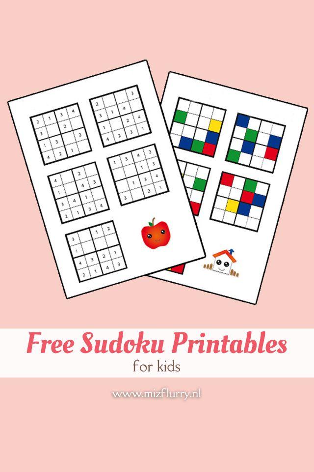 Ik heb een paar sudoku's voor de klas van Ewan gemaakt, met vier cijfers en vier kleuren. Hier zijn ze voor jullie te downloaden: