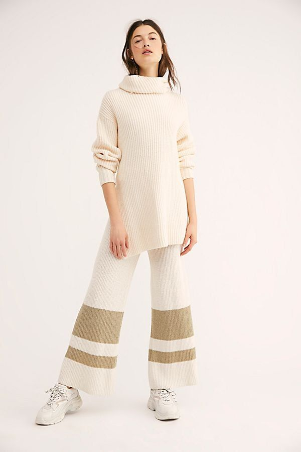 f9a87d0d55 Willow Pants - White Sweater Pants with Stripes - White Flowy Sweater Pants  - Sweater Pants - Cozy Sweater Pants - Flowy Sweater Pants