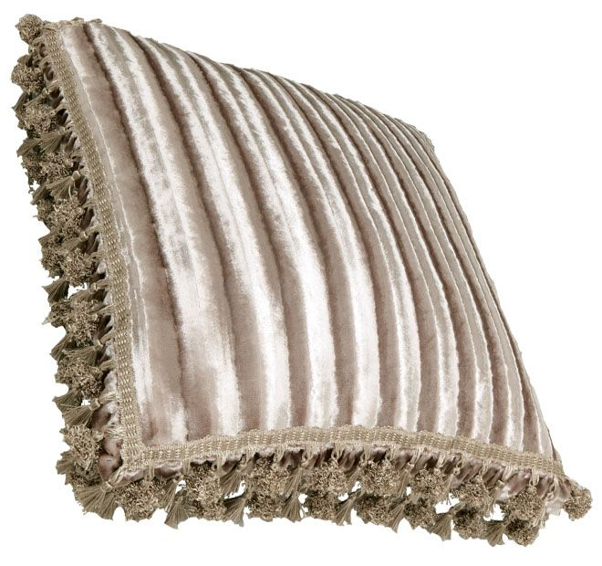 Vintage Velvet Mink DAVINCI  Features: Vertical striped velvet fabric Ruched gusset with chocolate, mink and ivory bell tassel fringing on all sides  Dimensions: x1 European Pillowcase - 65cm x 65cm - #pillowcases
