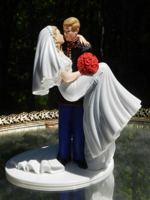 US Military Marine Corps Wedding Cake Topper kiss groom carries bride on Etsy, $125.00