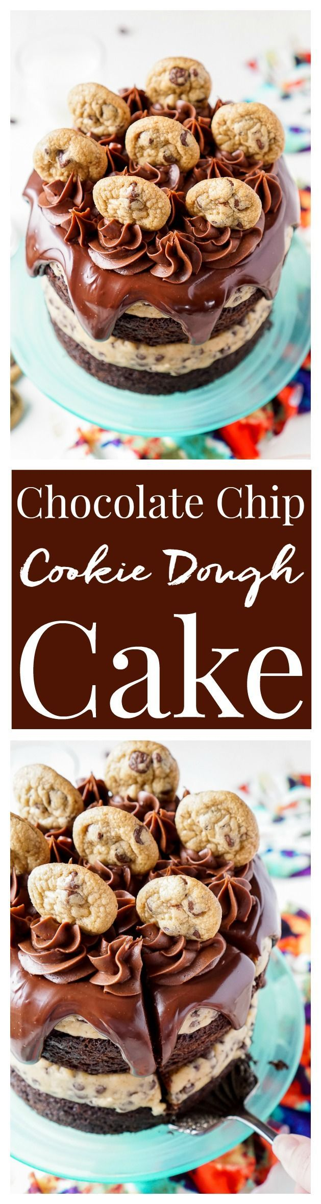 This Chocolate Chip Cookie Dough Cake is made with two layers of delicious…