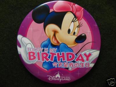Hong Kong Disneyland Minnie Mouse Birthday Buttonso cute
