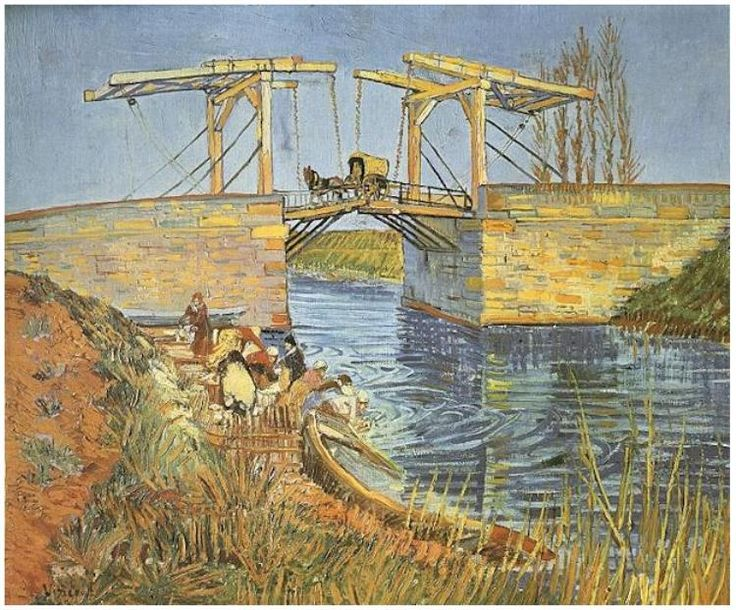 Read about Van Gogh' The Langlois Bridge at Arles with Women Washing