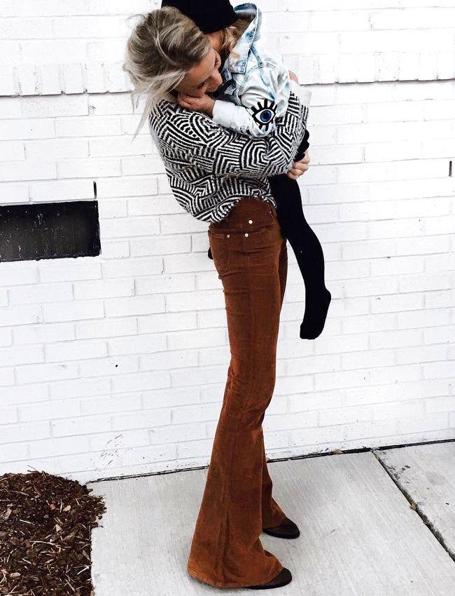 Haut géométrie + un slim pattes d'eph' en velours marron - J'adore (slim Citizens of Humanity - photo Mary Seng)