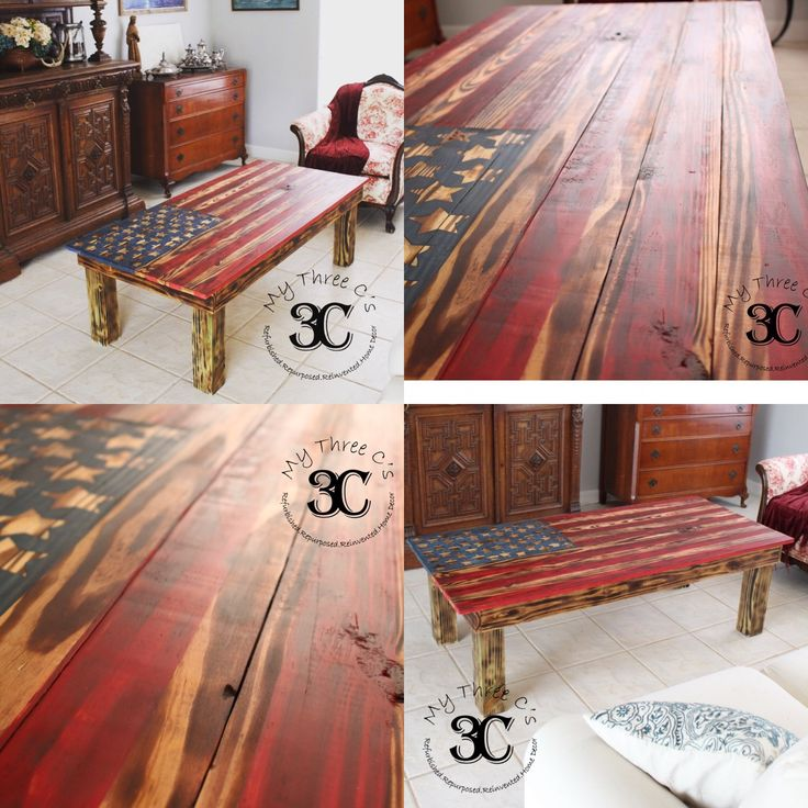Distressed American Flag Coffee Table: 112 Best My Three C's (Furniture, Crafts, Accessories