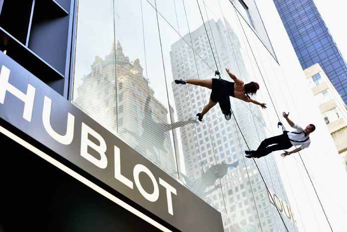 Hublot Boutique Opening Event: Acrobatic dancers descended from the roof and down the facade of the Hublot Fifth Avenue flagship boutique in New York at an opening event in April. Rise & Set produced the event.