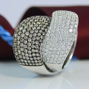 Great! Ring 750/- White Gold with Diamonds ZUS. 6,35 CT..! TW/VSI & Brown/Si