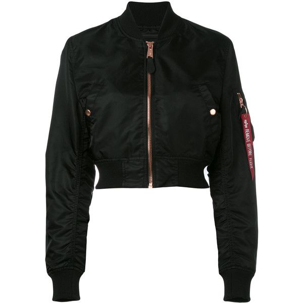 Alpha Industries cropped bomber jacket (3,635 MXN) ❤ liked on Polyvore featuring outerwear, jackets, black, cropped jacket, blouson jacket, alpha industries, nylon bomber jacket and alpha industries jacket