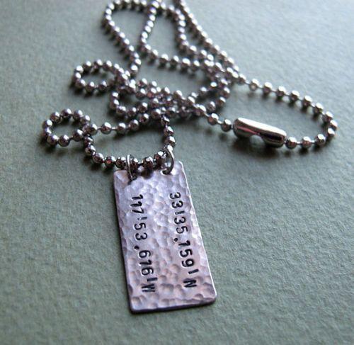 Latitude Longitude Necklace for Men. Rectangular Tag Unique Personalized Gifts for Men.