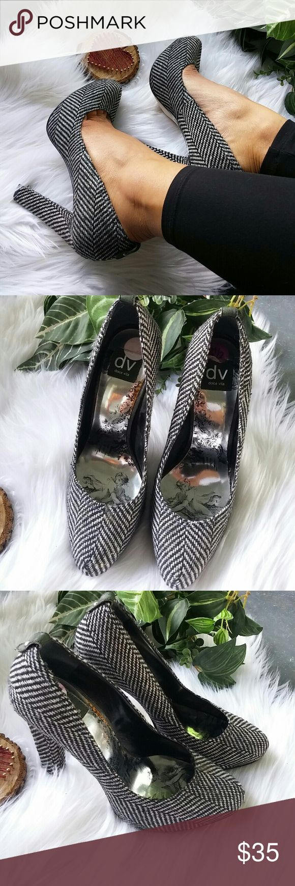 Dolce Vita black and white tweed high heels He's are beautiful pair of Dolce Vita ain't half black and white tweed high heels brand new Warren off tag never worn size 8 1/2 Dolce Vita Shoes Heels