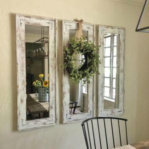 White Chalk Paint Mirror Frames, Rustic Home Decor Ideas via Refresh Restyle