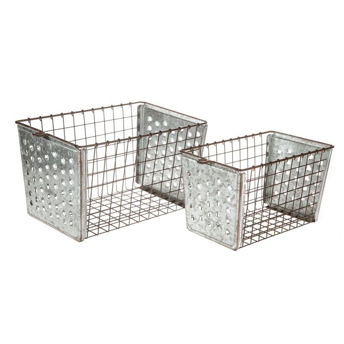 My favorite hobby lobby farmhouse storage baskets. Perfect for organizing your modern farmhouse! Organize the kids toys, your kitchen, living room, bedroom and more!  #affiliate   Wire Galvanized Metal Basket Set