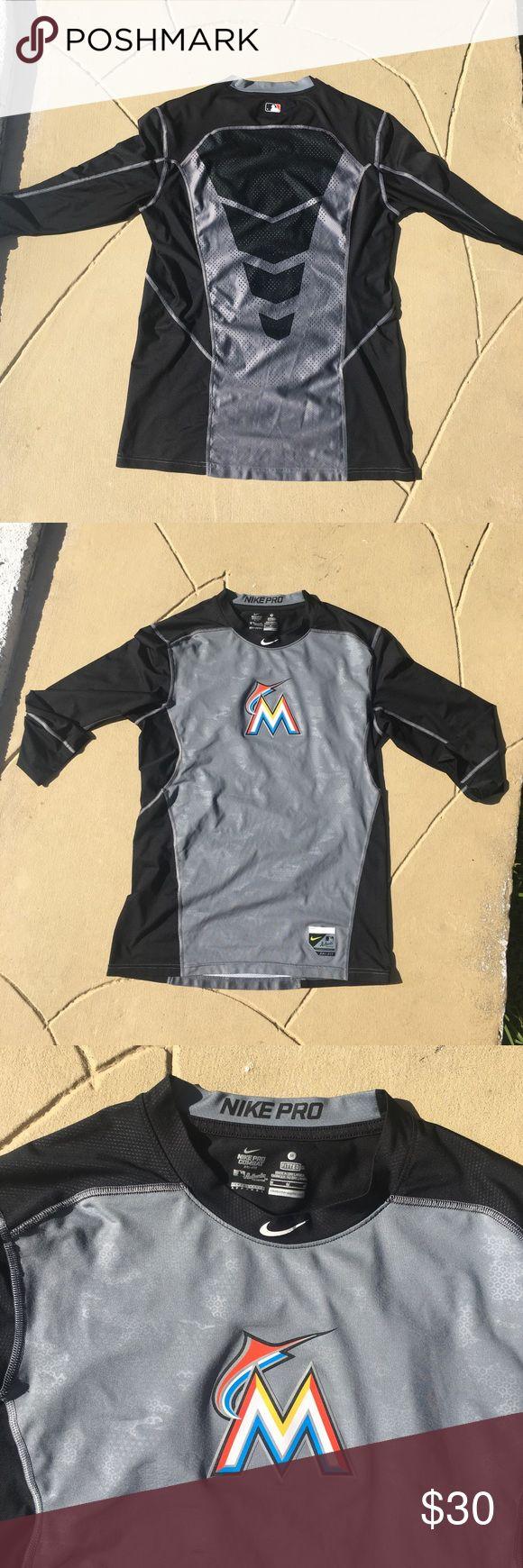 Nike Pro Combat Miami Marlins Dri-fit Shirt Authentic MLB performance apparel. Nike Shirts Tees - Short Sleeve