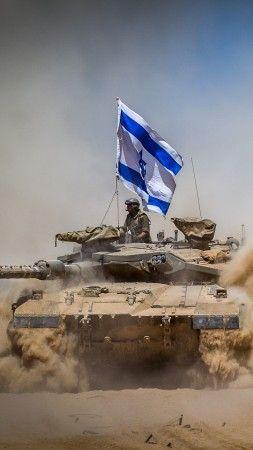 Merkava Mark IV, tank, flag, Israel Army, Israel Defense Forces, desert